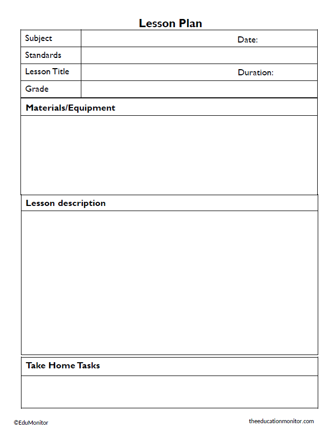 Lesson plan template for teachers