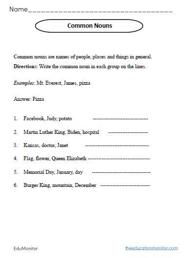 Common Nouns Worksheets I EduMonitor