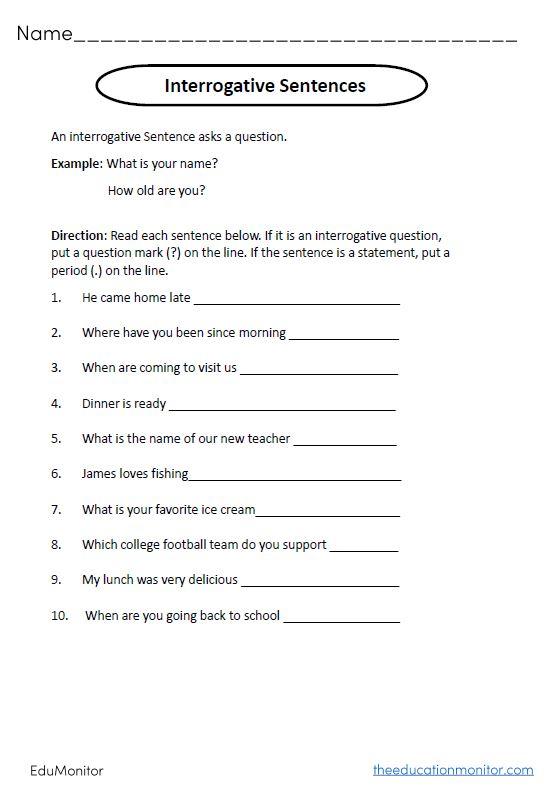 Interrogative Sentences Grammar Worksheets