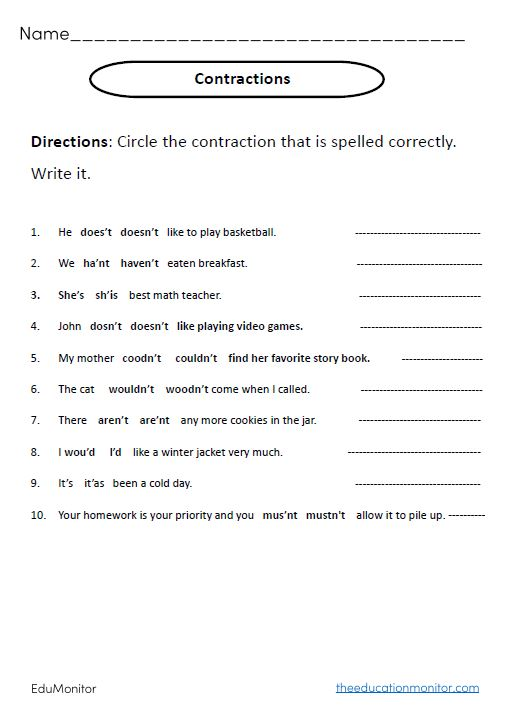 Contractions Grammar Worksheets